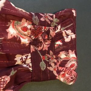 Violet & Claire Tops - Violet & Claire merlot floral sheer tunic